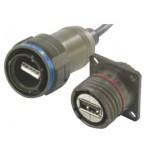 Embase nickel+capot pour USB ref. USBF21NSCC Amphénol Socapex