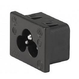 Prise IEC C6 2.5A 250V snap-in ref. 6163-0015 Schurter